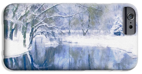 Pines Mixed Media iPhone Cases - Reflections Of Winter iPhone Case by Georgiana Romanovna