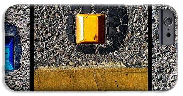 Asphalt iPhone Cases - Reflections On Reflectors iPhone Case by Marlene Burns