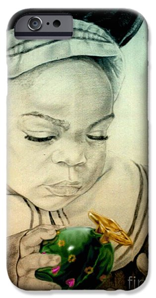 Little Girl Mixed Media iPhone Cases - Regi iPhone Case by Reggie Duffie