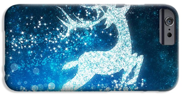 Animal Cards iPhone Cases - Reindeer stars iPhone Case by Setsiri Silapasuwanchai