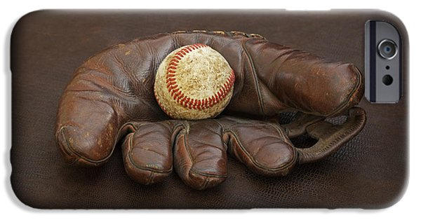 Baseball Glove iPhone Cases - Remember When - Marks Mitt iPhone Case by John Stephens