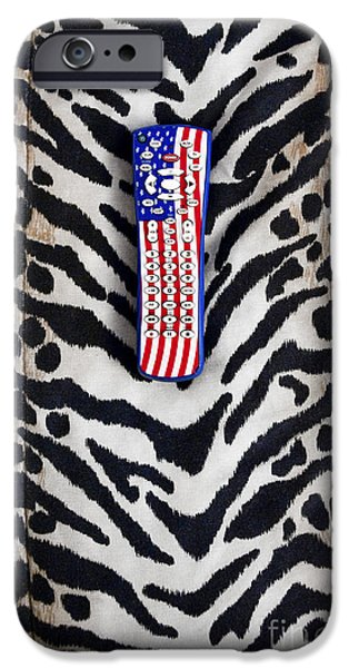 Remote Control on Animal Print Background iPhone Case by Eddy Joaquim