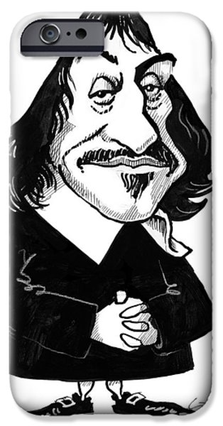 Analytic iPhone Cases - Rene Descartes, Caricature iPhone Case by Gary Brown