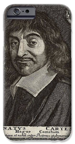 Caption iPhone Cases - Rene Descartes, French Mathematician iPhone Case by Humanities & Social Sciences Librarynew York Public Library