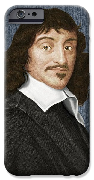 Analytic iPhone Cases - Rene Descartes, French Philosopher iPhone Case by Maria Platt-evans