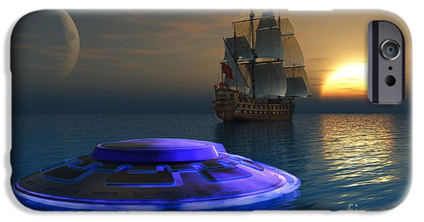 Pirate Ship iPhone Cases - Reports Of Strange Glowing Objects iPhone Case by Mark Stevenson