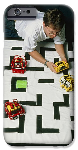 Researcher Testing Lego Robots Playing Pacman iPhone Case by Volker Steger
