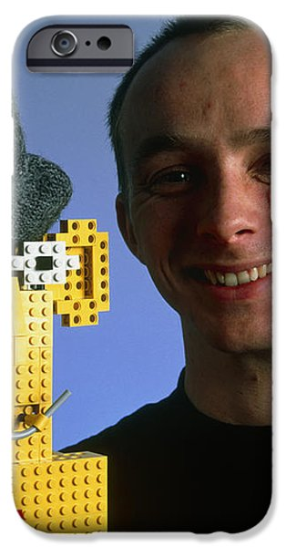 Researcher With His Happy Emotional Lego Robot iPhone Case by Volker Steger