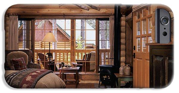 Cabin Window iPhone Cases - Resort Log Cabin Interior iPhone Case by Robert Pisano