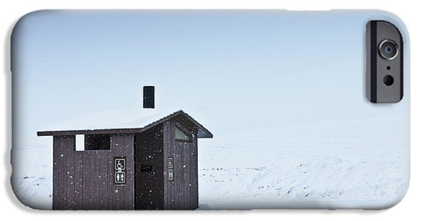 Snowy Day iPhone Cases - Restroom in a Snowy Landscape iPhone Case by Dave & Les Jacobs