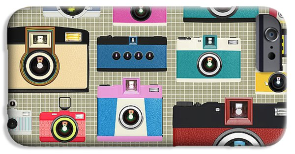 Analog iPhone Cases - Retro Camera Pattern iPhone Case by Setsiri Silapasuwanchai