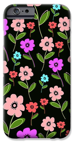 Louisa iPhone Cases - Retro Florals iPhone Case by Louisa Knight