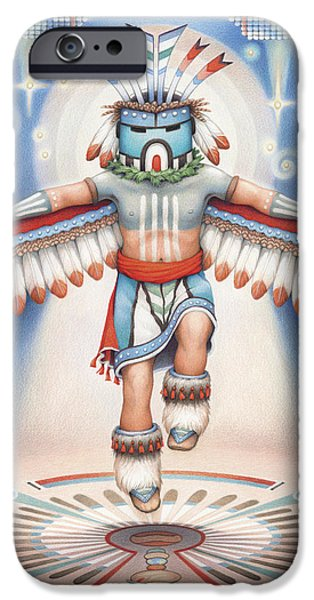 Blue Drawings iPhone Cases - Return of the Blue Star Kachina iPhone Case by Amy S Turner