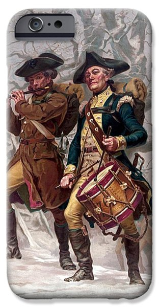 Drummer iPhone Cases - Revolutionary War Soldiers Marching iPhone Case by War Is Hell Store