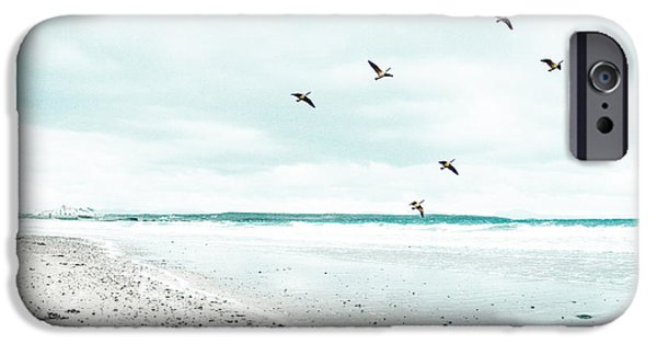 Flying Seagull iPhone Cases - Rhosneigr Beach iPhone Case by Nomad Art And  Design