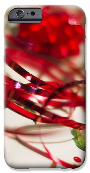Christmas Glass Art iPhone Cases - Ribbon Curls iPhone Case by Rebecca Cozart