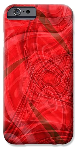 Ribbons of Red Abstract iPhone Case by Carol Groenen