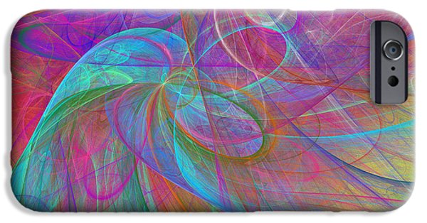 Fine Art Fractal iPhone Cases - Ribbons Of The Rainbow iPhone Case by Andee Design