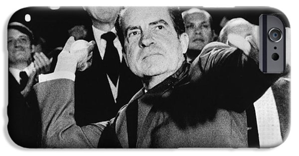 America First Party iPhone Cases - Richard Nixon (1913-1994) iPhone Case by Granger