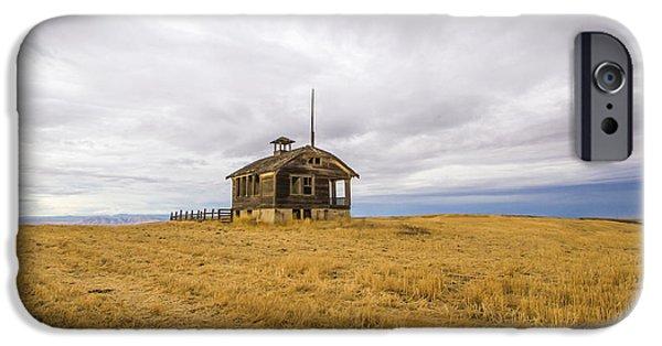 Abandoned School House. iPhone Cases - Ridge Top School iPhone Case by Jean Noren