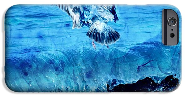 Seagull iPhone Cases - Riding The Wave Blue Gull iPhone Case by Debra  Miller