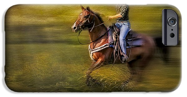 Horse Racing iPhone Cases - Riding Thru The Meadow iPhone Case by Susan Candelario