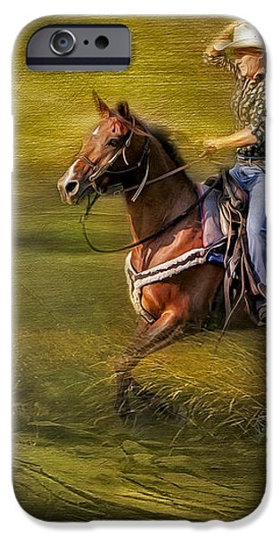 Riding Thru The Meadow iPhone Case by Susan Candelario