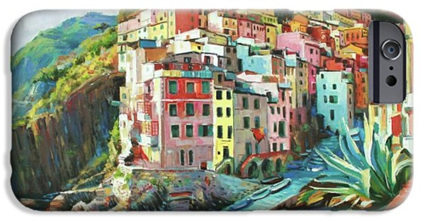 Italian Landscapes Paintings iPhone Cases - Riomaggiore Italy iPhone Case by Conor McGuire