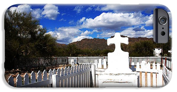 Grave Yard iPhone Cases - R.I.P. in Old Tuscon AZ iPhone Case by Susanne Van Hulst