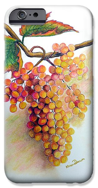Botanical Pastels iPhone Cases - Ripe Muscats iPhone Case by Karin Best