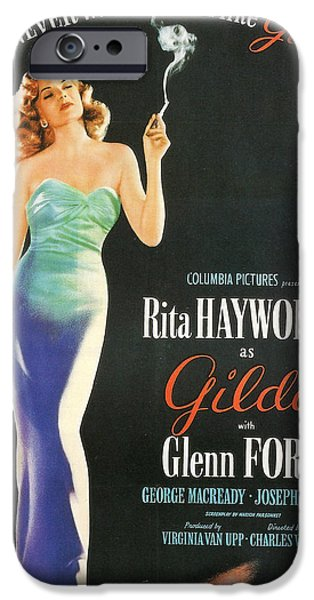 Film Noir iPhone Cases - Rita Hayworth as Gilda iPhone Case by Nomad Art And  Design