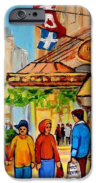 Jewish Montreal Paintings iPhone Cases - Ritz Carlton Montreal Sherbrooke Street iPhone Case by Carole Spandau