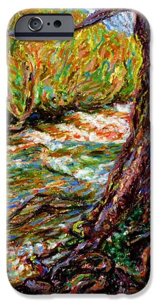 Tree Roots Pastels iPhone Cases - River Hafren in September iPhone Case by Alexandra Cook