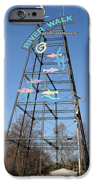 River Walk Tower Sign in West Sacramento California . 7D11400 iPhone Case by Wingsdomain Art and Photography