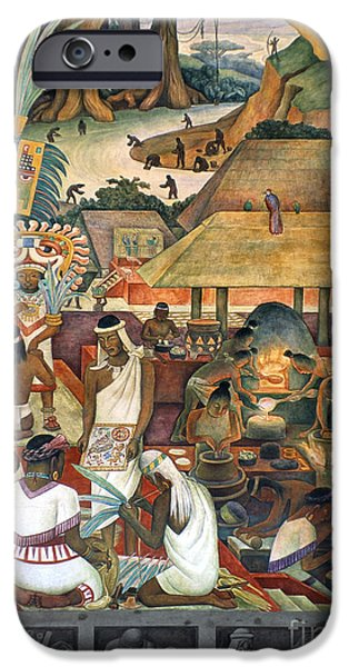 Diego Rivera iPhone Cases - Rivera: Pre-columbian Life iPhone Case by Granger