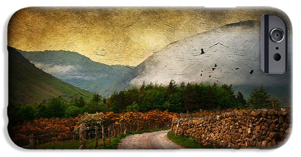 Fog Mist Mixed Media iPhone Cases - Road by the Lake iPhone Case by Svetlana Sewell