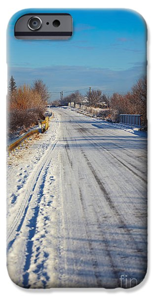 Wintertime iPhone Cases - Road in winter iPhone Case by Gabriela Insuratelu