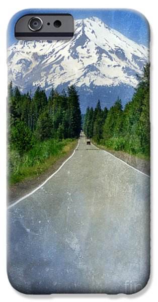 Road Leading to Snow Covered Mount Shasta iPhone Case by Jill Battaglia