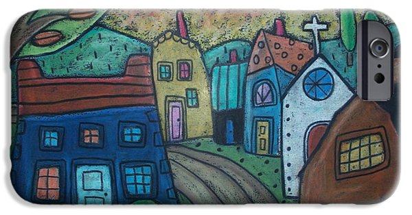 House Pastels iPhone Cases - Road To Town iPhone Case by Karla Gerard