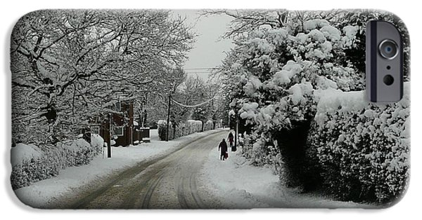 Winter Scene iPhone Cases - Road To Winter iPhone Case by Rdr Creative