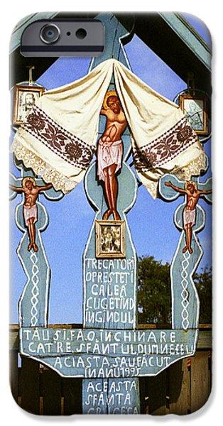 Wayside Cross iPhone Cases - Roadside crucifix I iPhone Case by Emanuel Tanjala