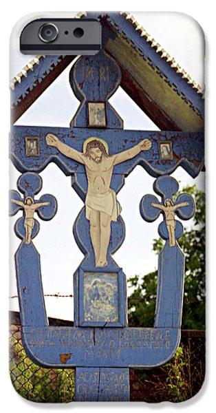 Wayside Cross iPhone Cases - Roadside crucifix II iPhone Case by Emanuel Tanjala