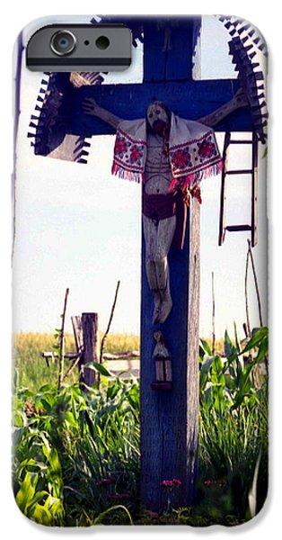Wayside Cross iPhone Cases - Roadside crucifix III iPhone Case by Emanuel Tanjala