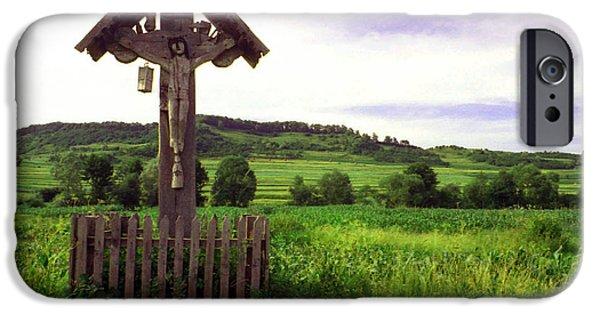 Wayside Cross iPhone Cases - Roadside crucifix IV iPhone Case by Emanuel Tanjala