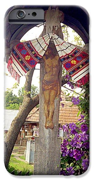 Wayside Cross iPhone Cases - Roadside crucifix V iPhone Case by Emanuel Tanjala