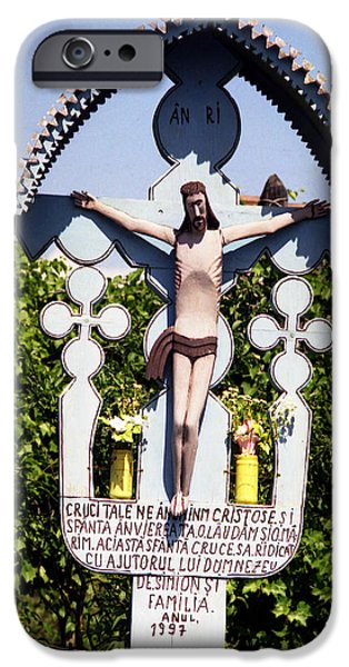 Wayside Cross iPhone Cases - Roadside crucifix VI iPhone Case by Emanuel Tanjala