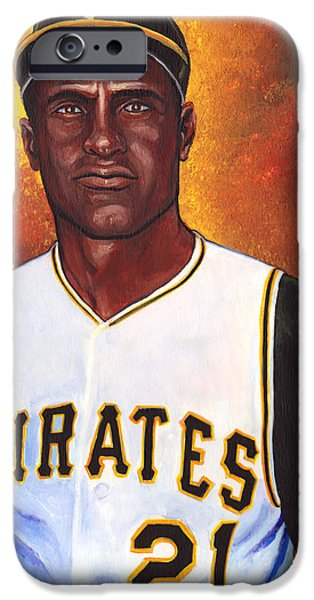 Clemente Paintings iPhone Cases - Roberto Clemente iPhone Case by Steve Benton