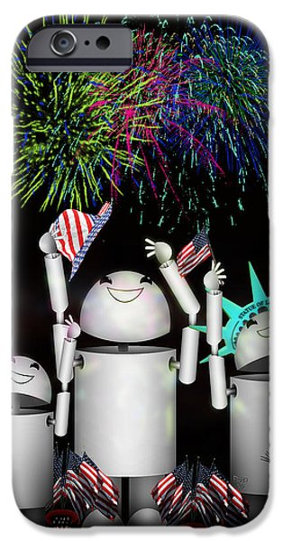 Robo-x9 and Family Celebrate Freedom iPhone Case by Gravityx Designs