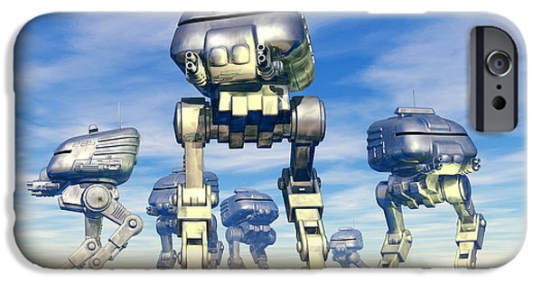 21st Century iPhone Cases - Robot Army iPhone Case by Victor Habbick Visions and Photo Researchers