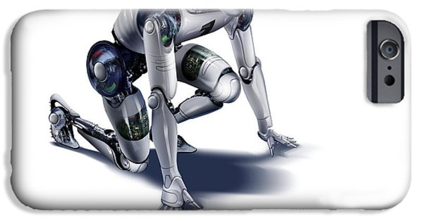 Science Fiction Photographs iPhone Cases - Robot, Artwork iPhone Case by Smetek